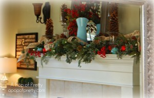 Christmas Mantel reflected in mirror