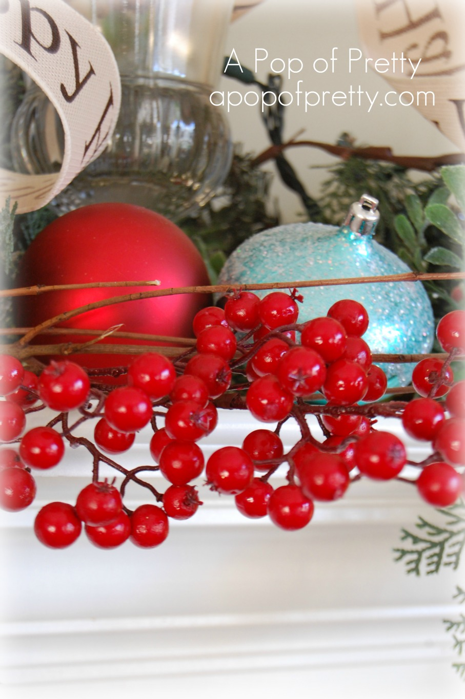 Christmas mantel - berries - Copy