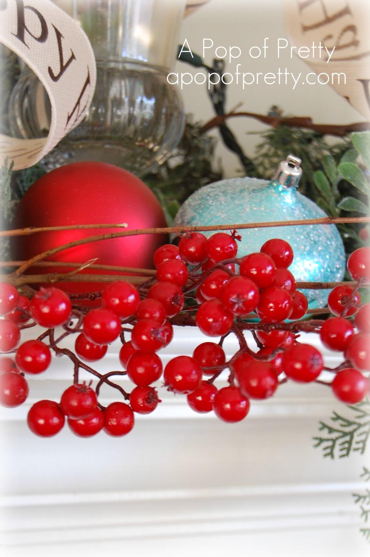 Christmas mantel - berries - Copy