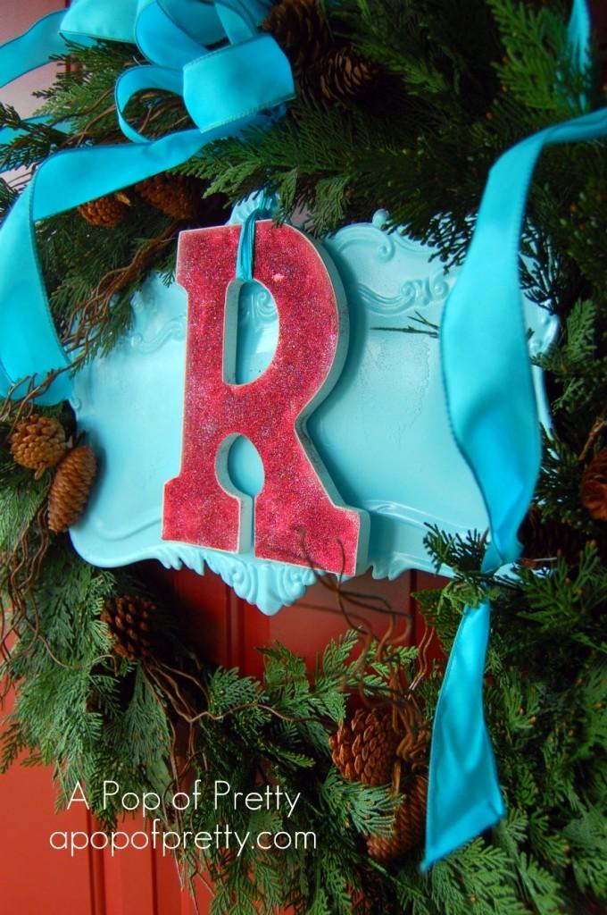 Monogram Chistmas Wreath, Red & Turquoise