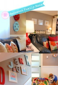 Colorful Basement Family Room - A Pop of Pretty