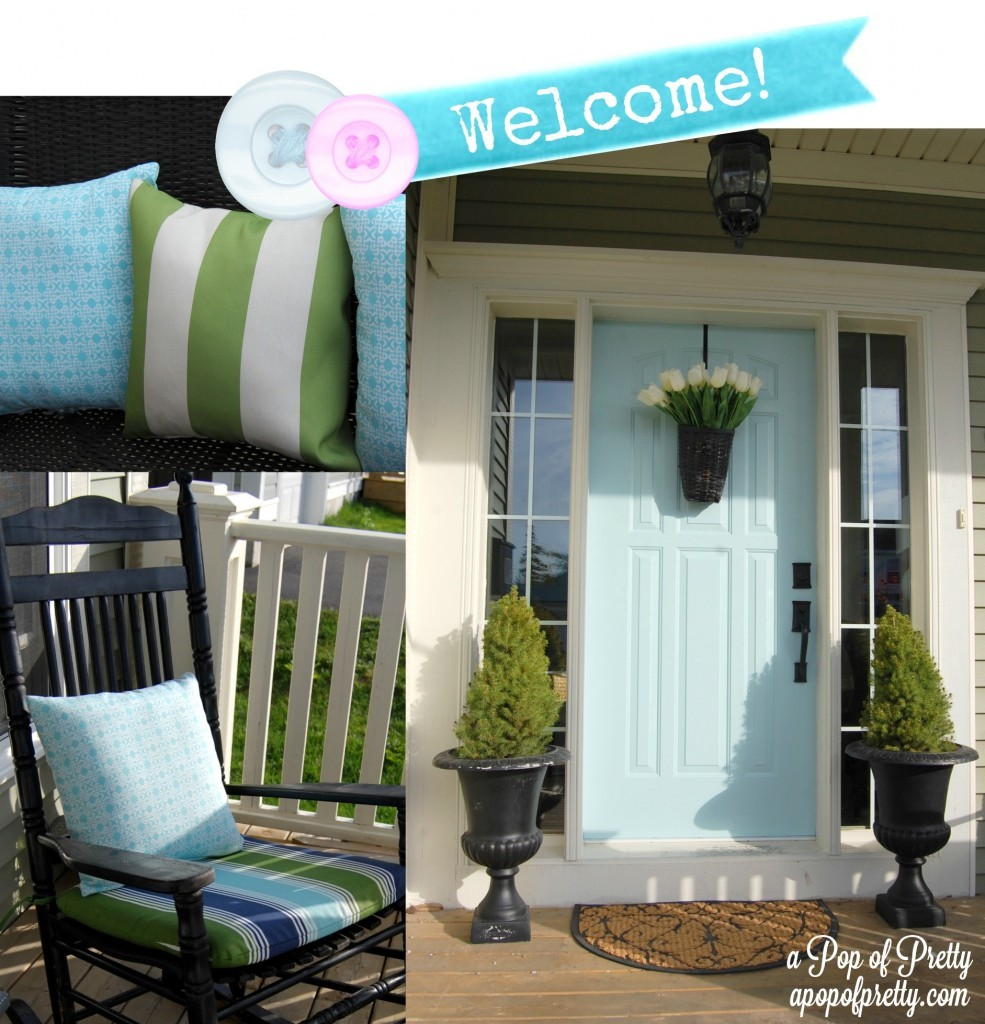 Decorating Front Porch with Light Turquoise Door