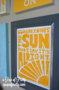 Here comes the sun word art - Sunshine Gallery Wall