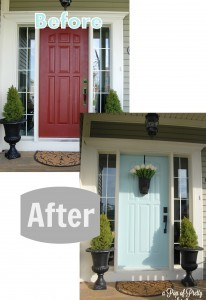 Turquoise Front Door - Before &amp; After