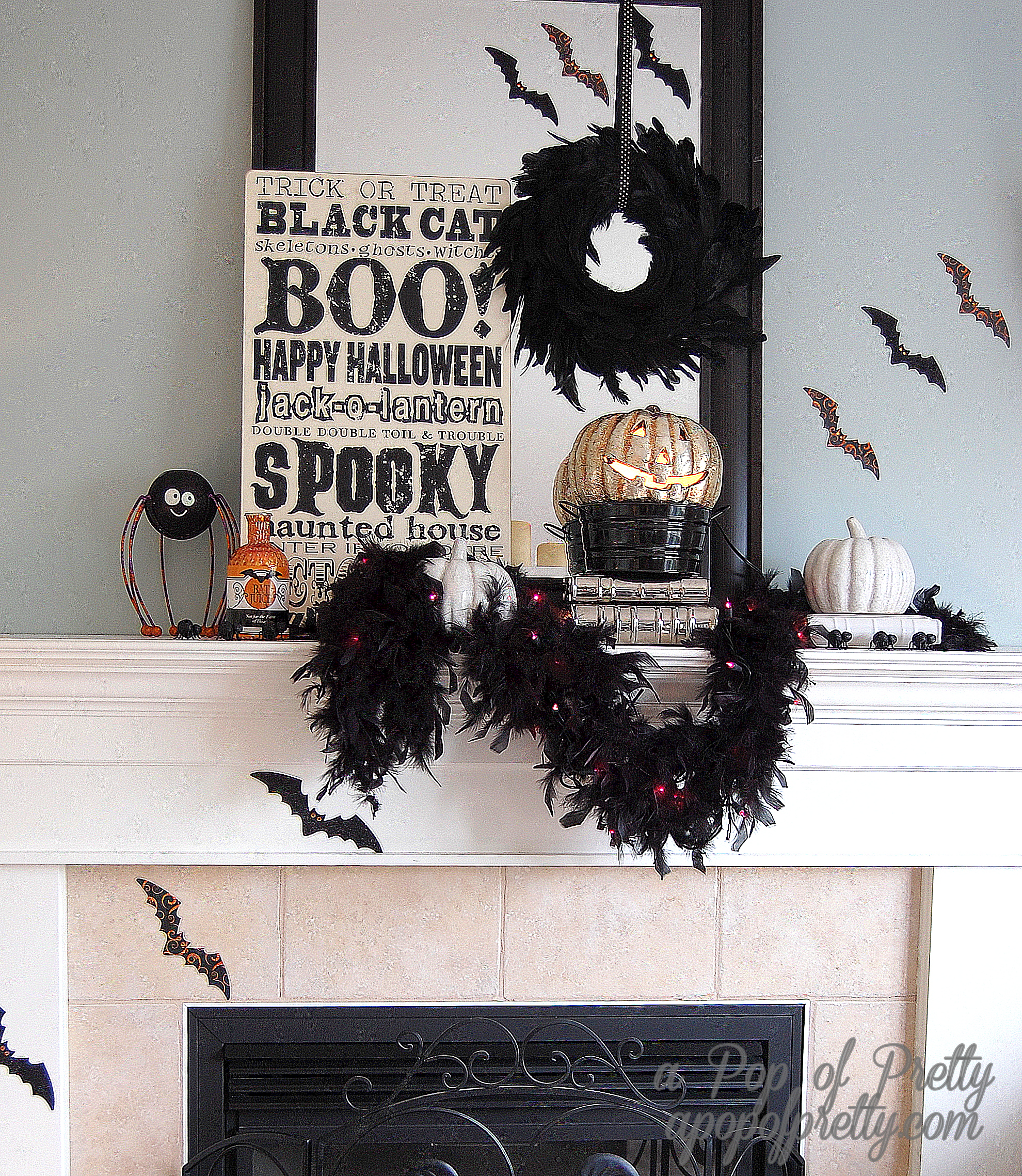 Decorate mantel for Halloween