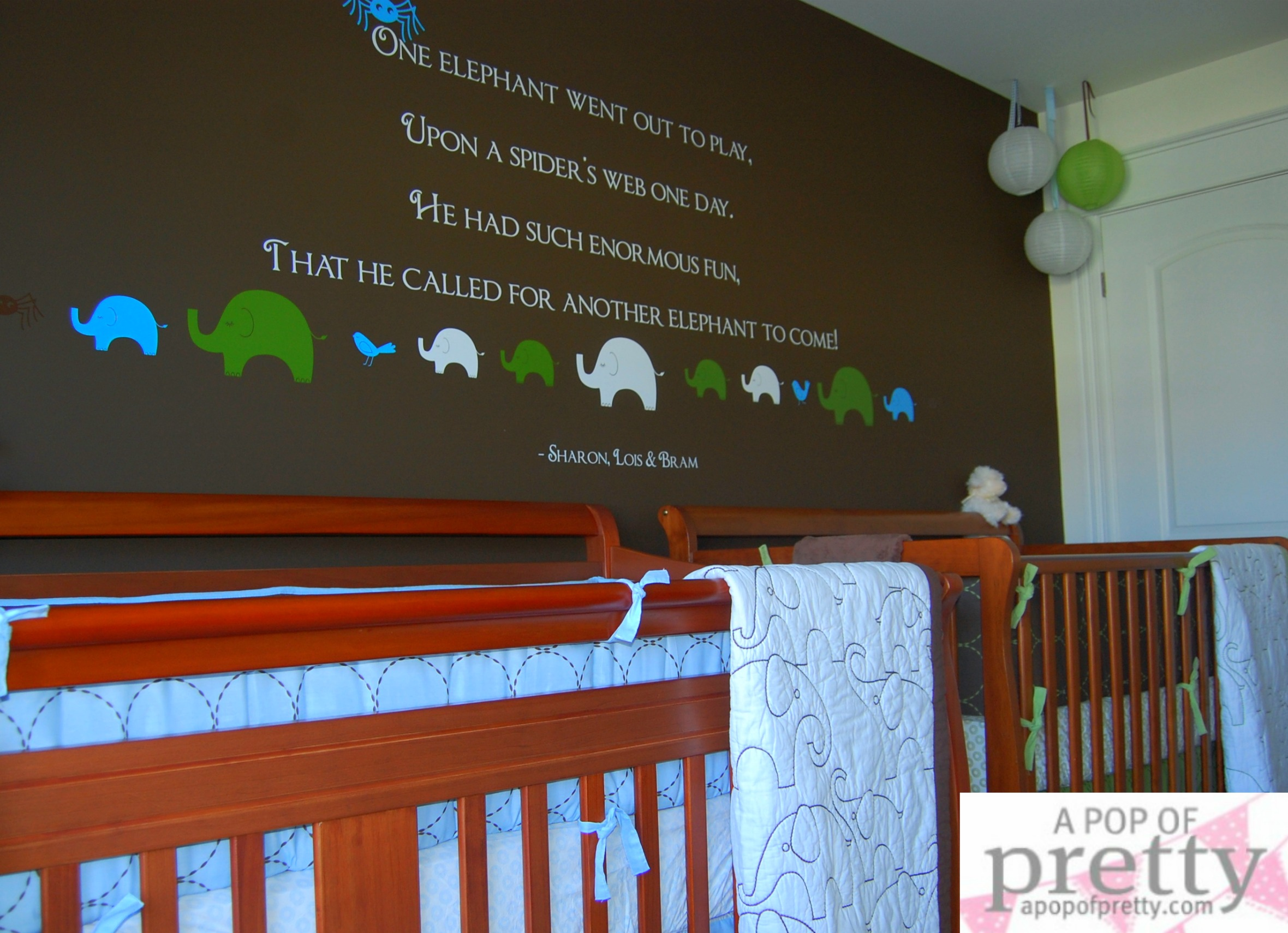 Twin boy nursery decor custom wall quote a pop of for Baby wall decoration ideas