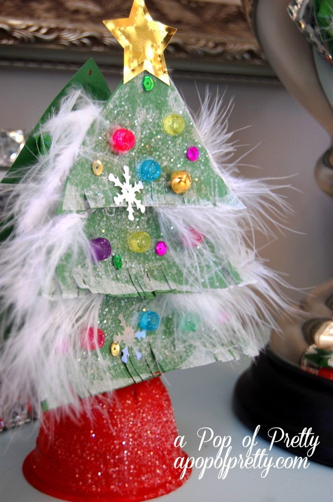 Christmas craft ideas for kids sparkly tree from recycled Christmas tree ideas using recycled materials
