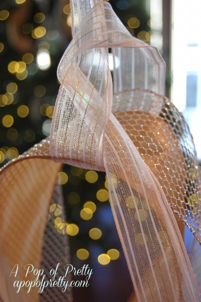 Add ribbon to a Christmas tree tutorial