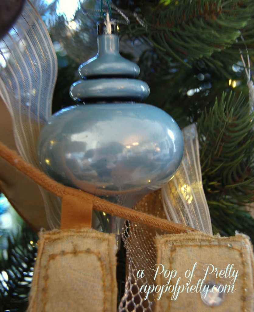 Blue and champagne Christmas decorations