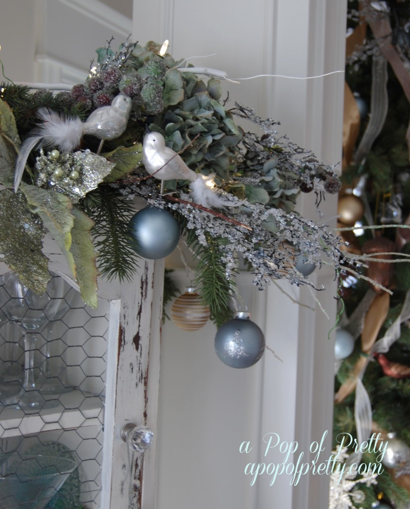 Cabinet-Top Christmas Display (Vignette): Bulbs and Foliage | A