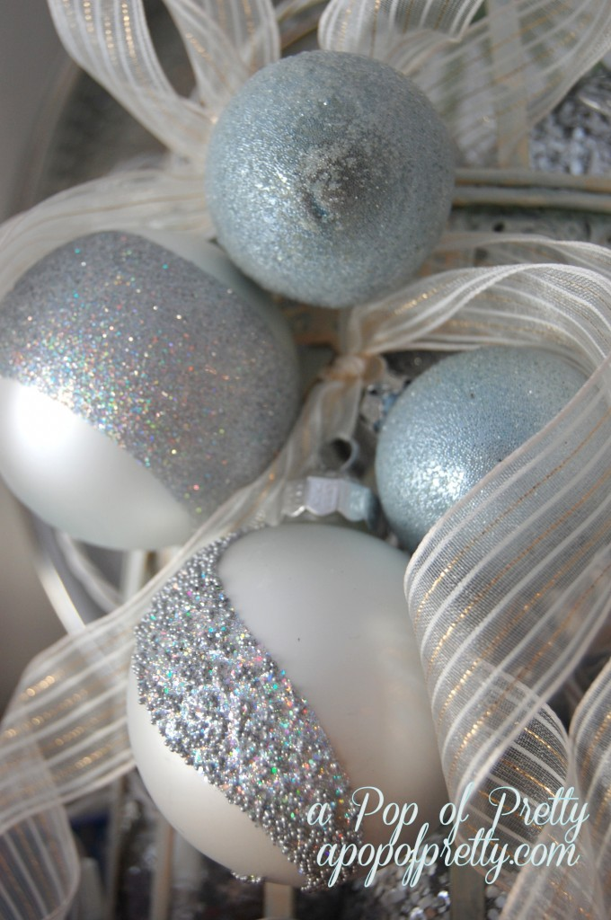 silver and blue Christmas decor