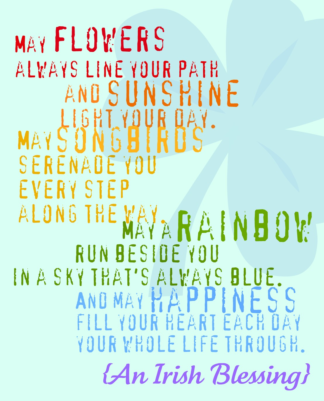 An Irish Blessing - Free Printable - Rainbow and Aqua