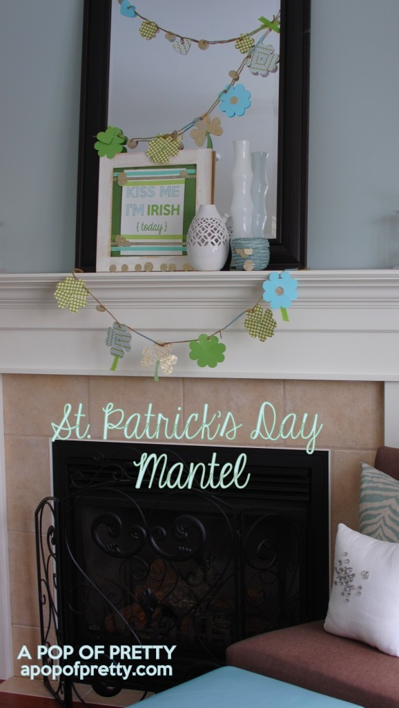 St Patricks Day mantel decor