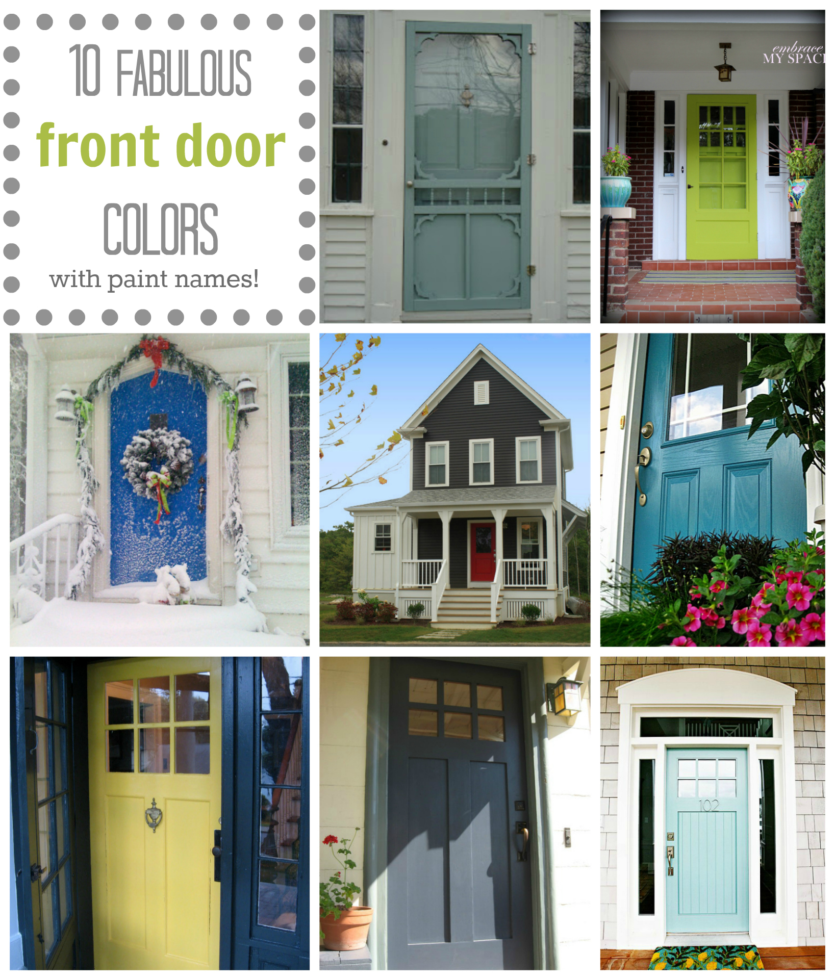 10 Fab Front Door Colors (& their paint names!)