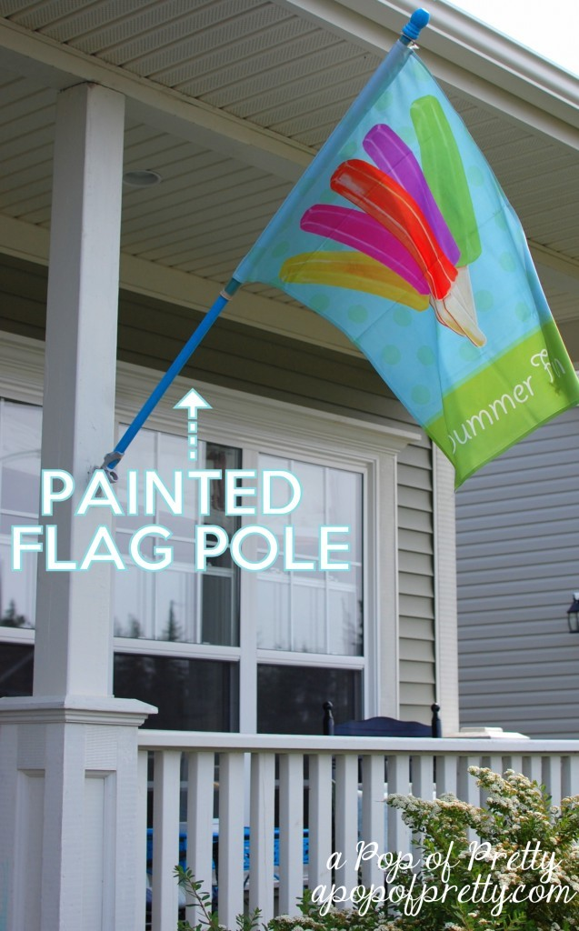 spray painted flag pole