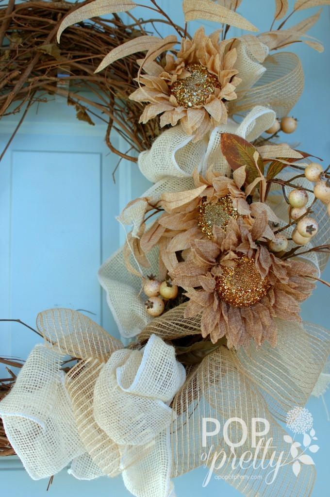 DIY Fall Wreath with burlap ribbon