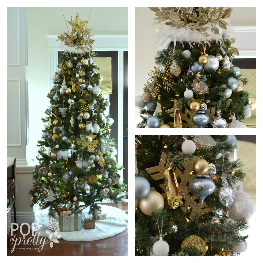 Our gold and white christmas tree a pop of pretty blog for Blue gold and white christmas tree