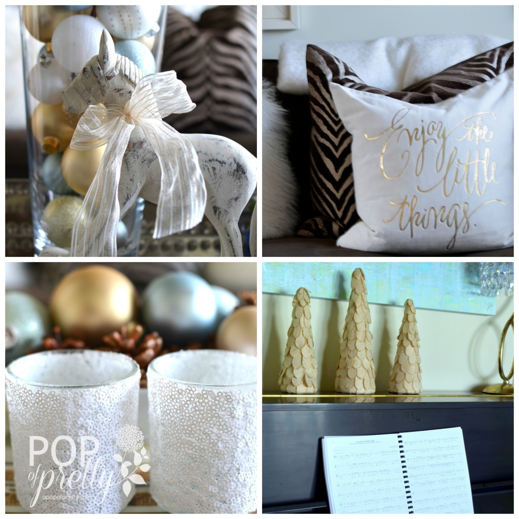 Gold and white Christmas decor  - piano room1