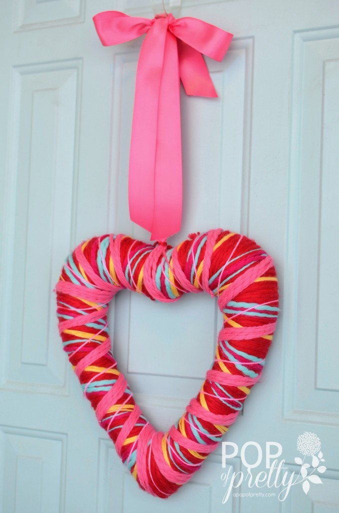 Valentines Ideas yarn wreath