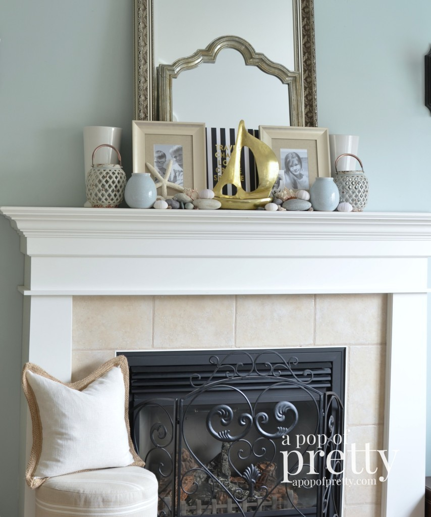 Canadian Bloggers Home Tour - a pop of pretty - summer mantel