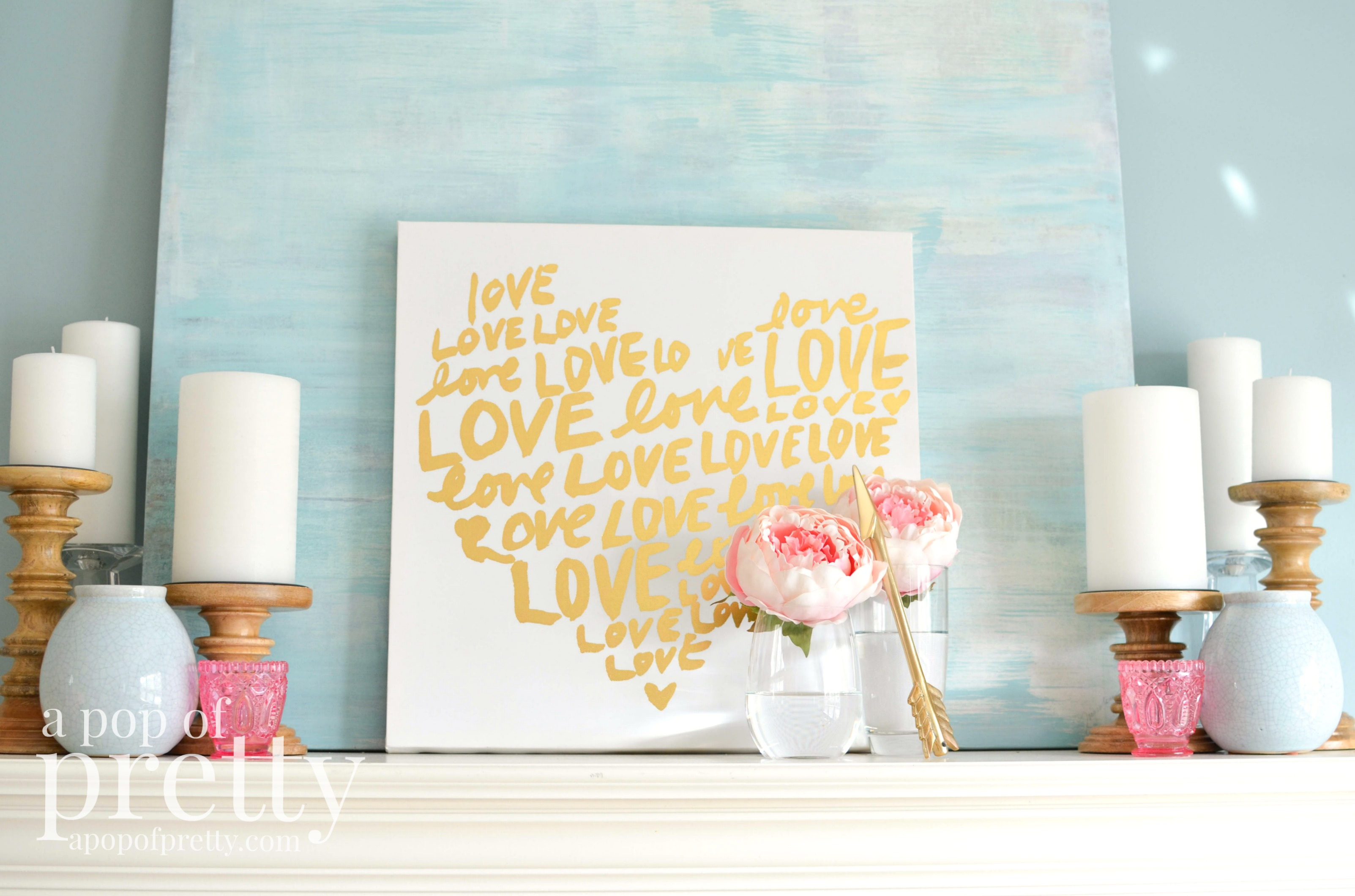Pretty Pink and Gold Valentine's Day Mantel
