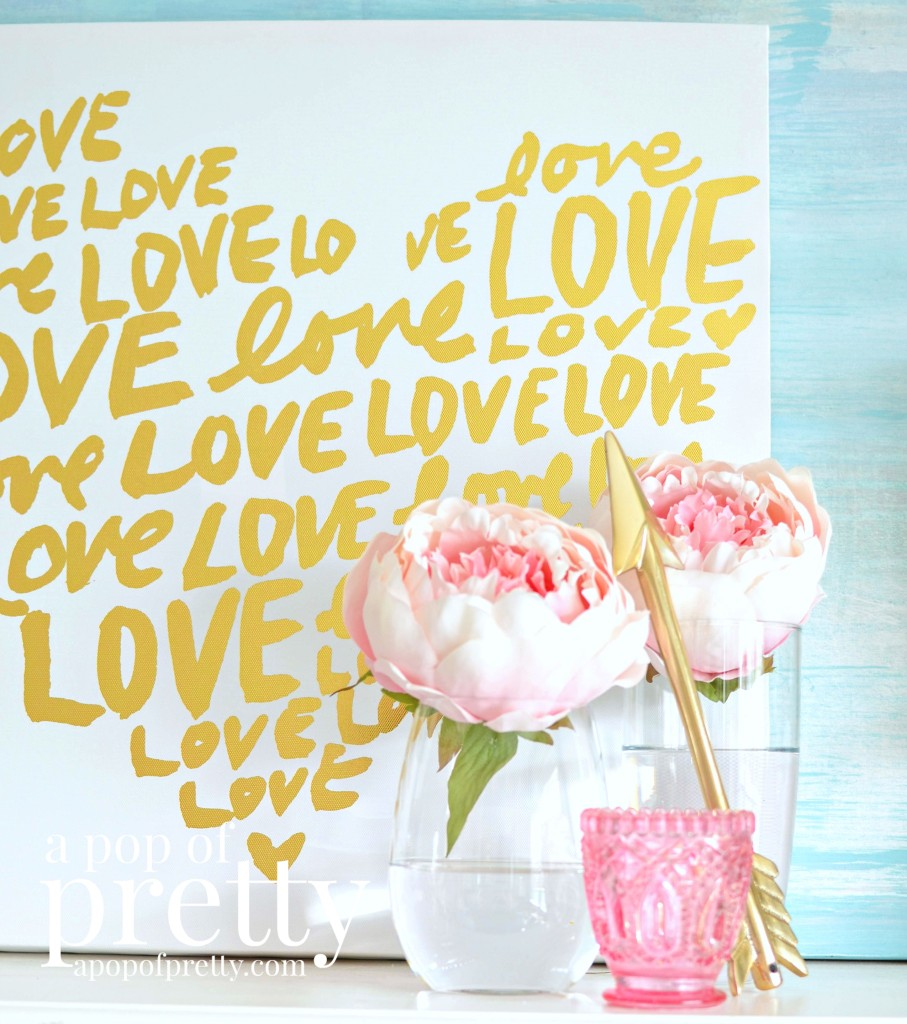 pink and gold valentines day mantel