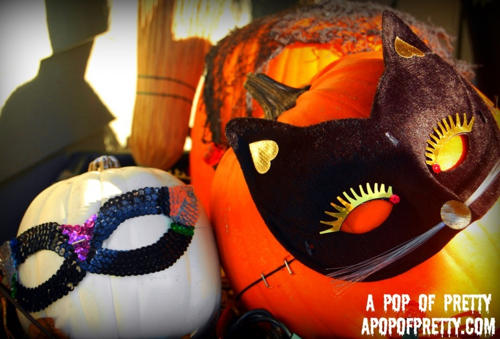 Ideas for Halloween decorating - pumpkins with masks