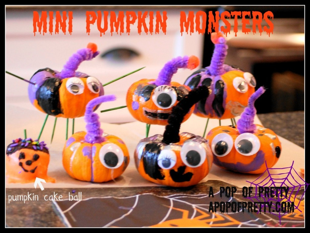 easy Halloween Craft idea for Kids mini pumpkin monsters