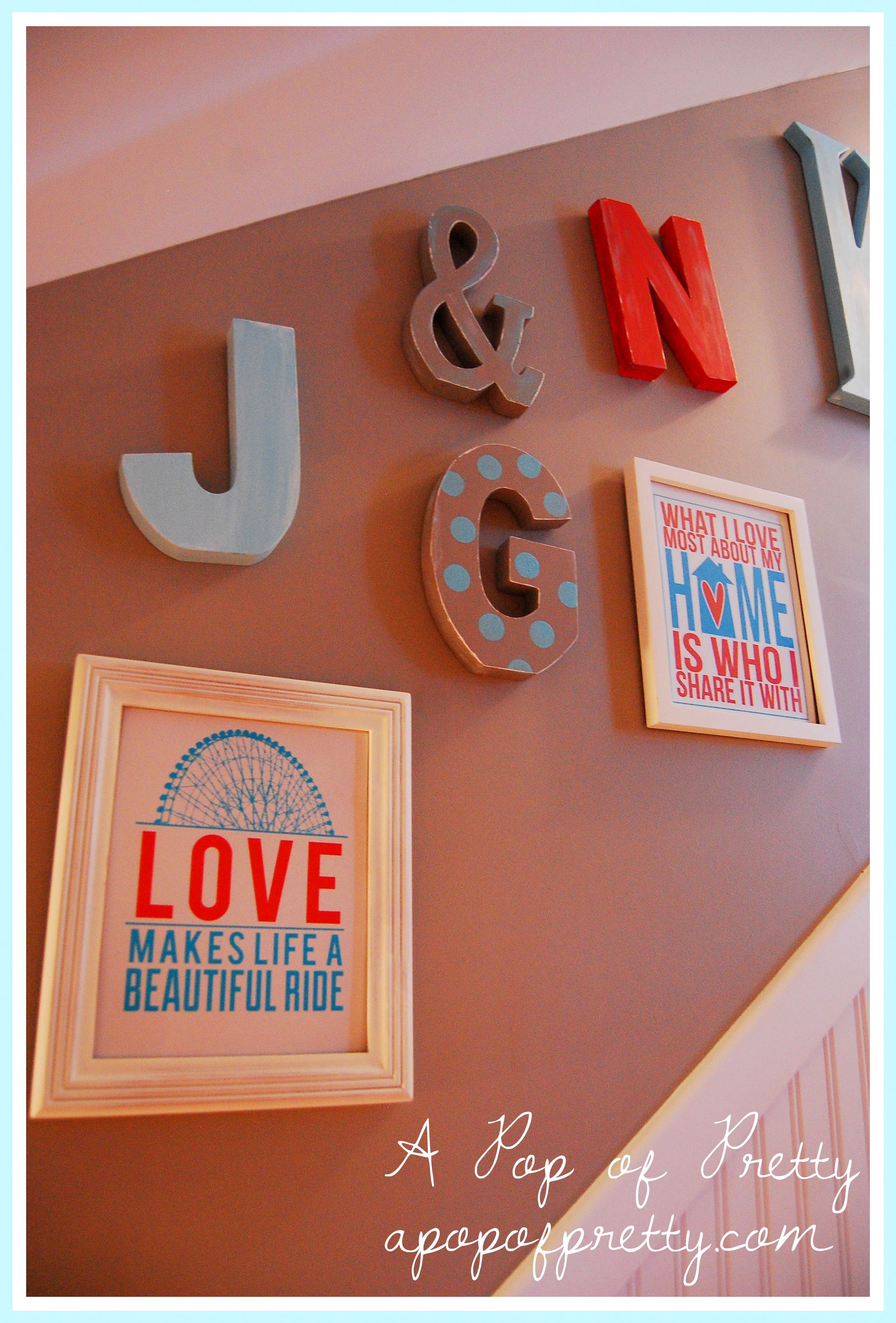 Our 'Alphabet-Inspired' Basement Stairway Gallery Wall