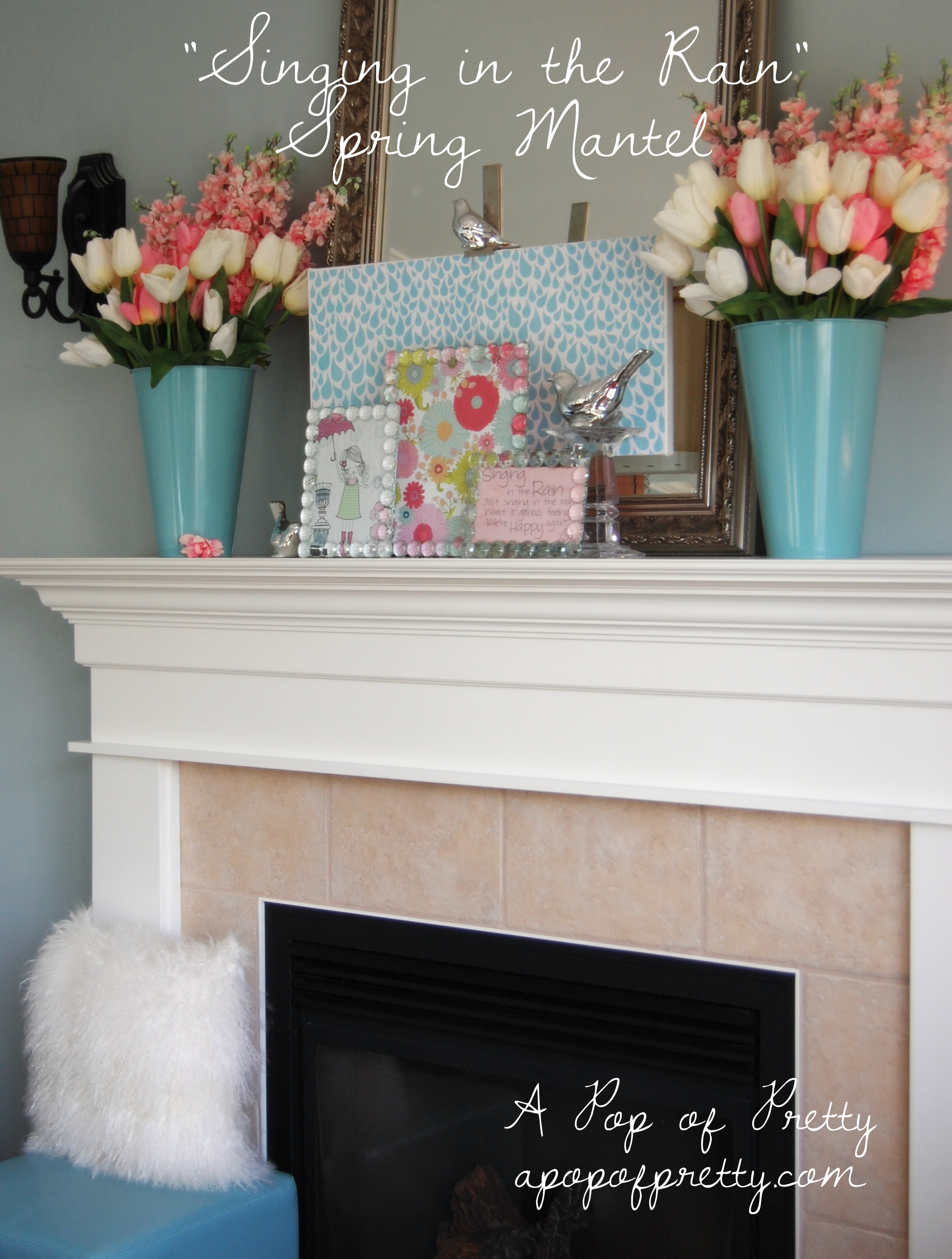 Spring easter mantel decor a pop of pretty blog for Decorating blogs canada