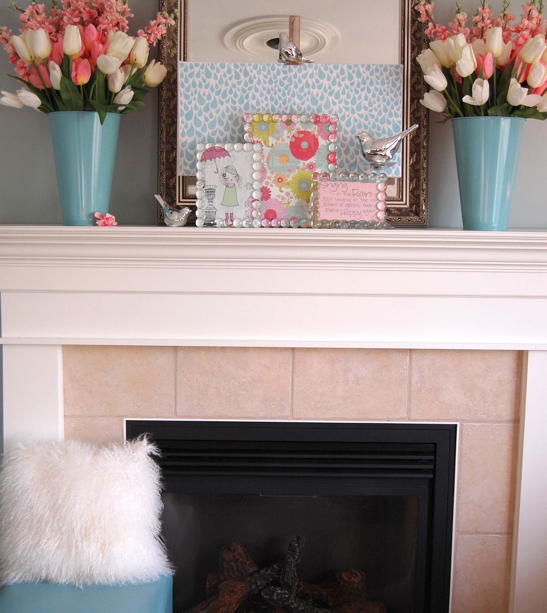 """Spring and Easter Decorating Ideas: My """"Singing in the Rain"""" Mantel"""