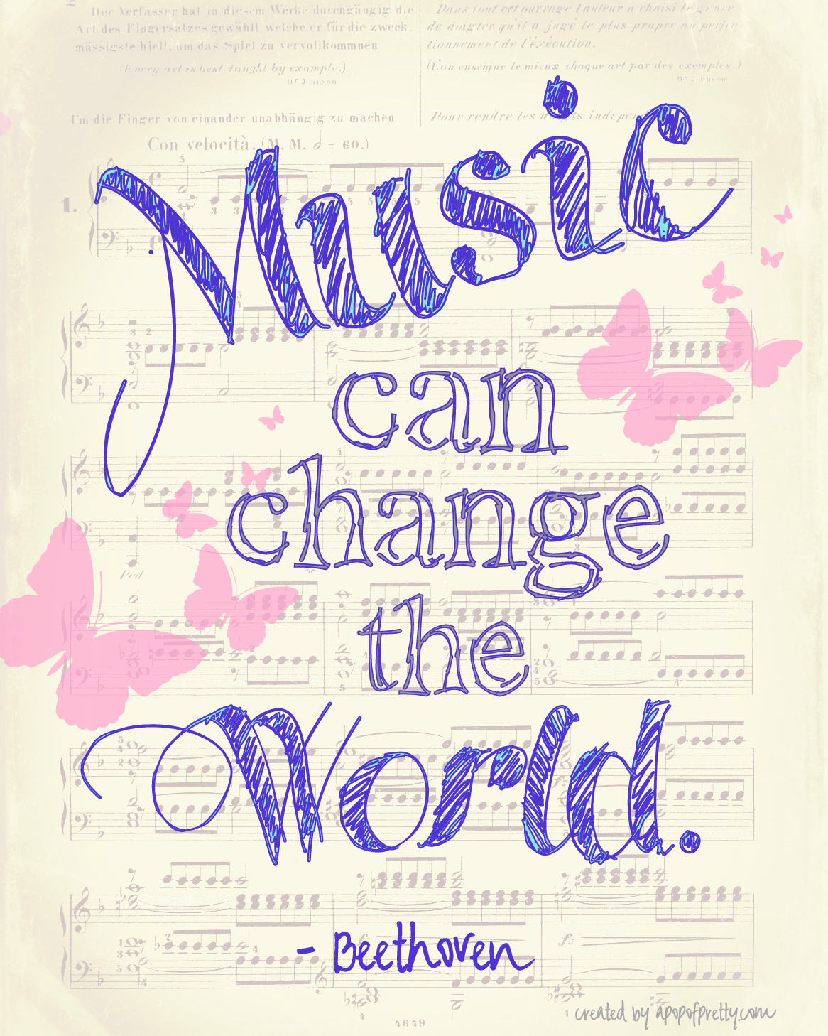 Music can change the world – a free printable.