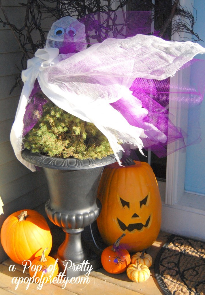ghost topiary halloween front porch