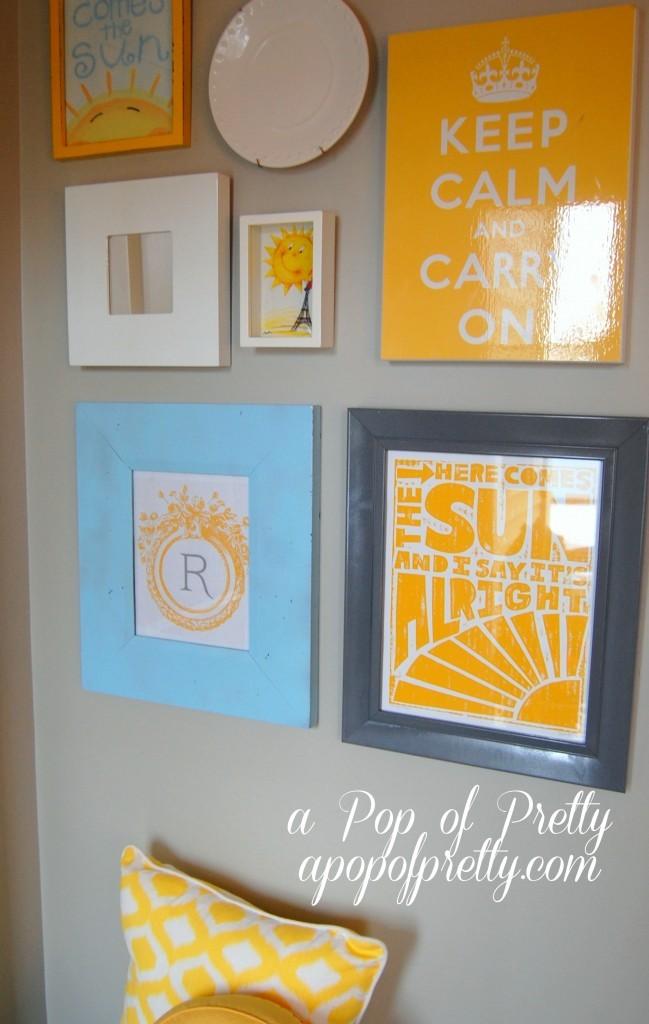Monogram art on gallery wall