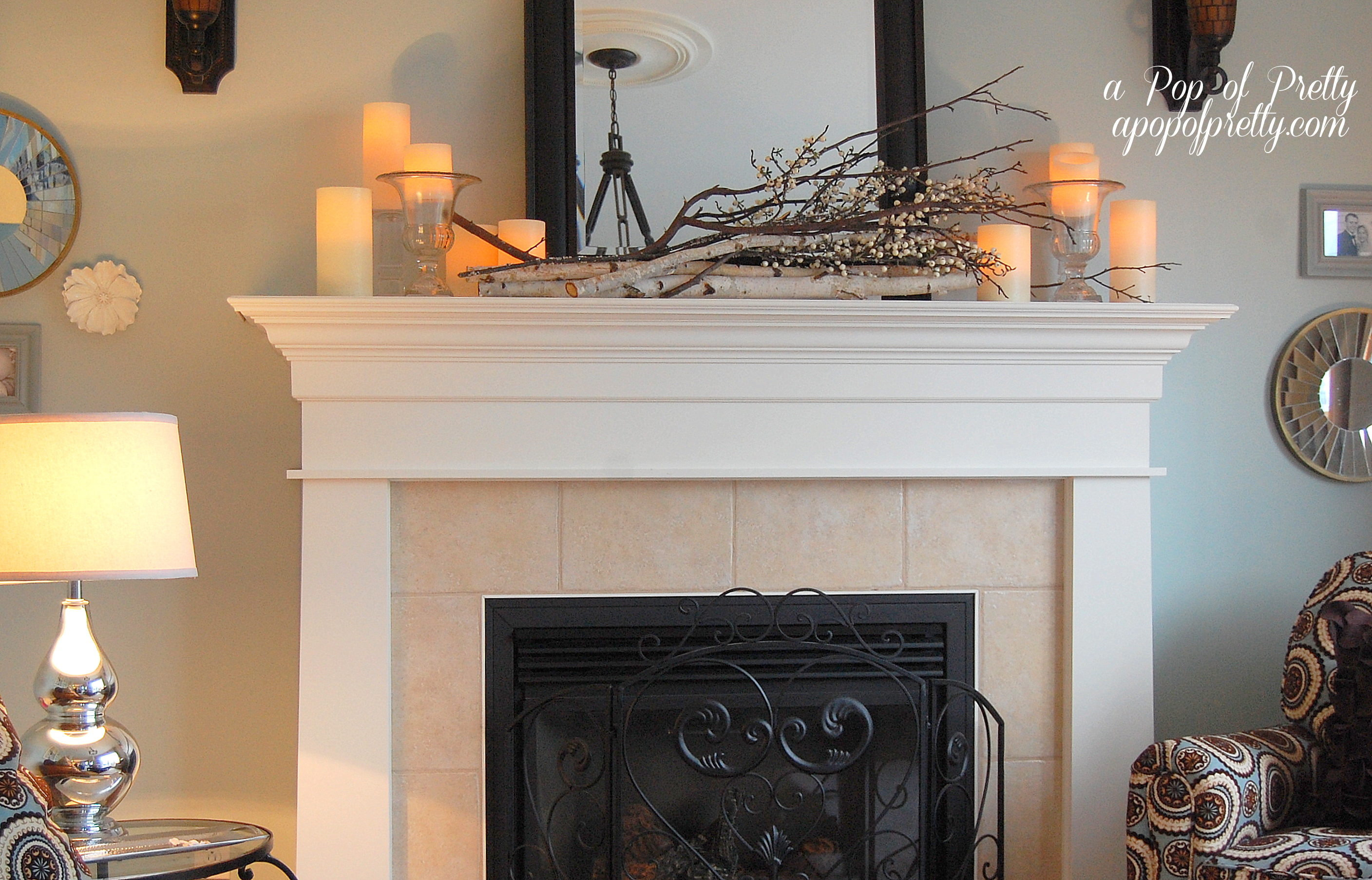 Late fall mantel decor a pop of pretty blog canadian for How to decorate