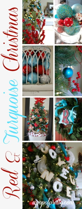 Red and turquoise christmas decor a pop of pretty blog for Decorating blogs canada