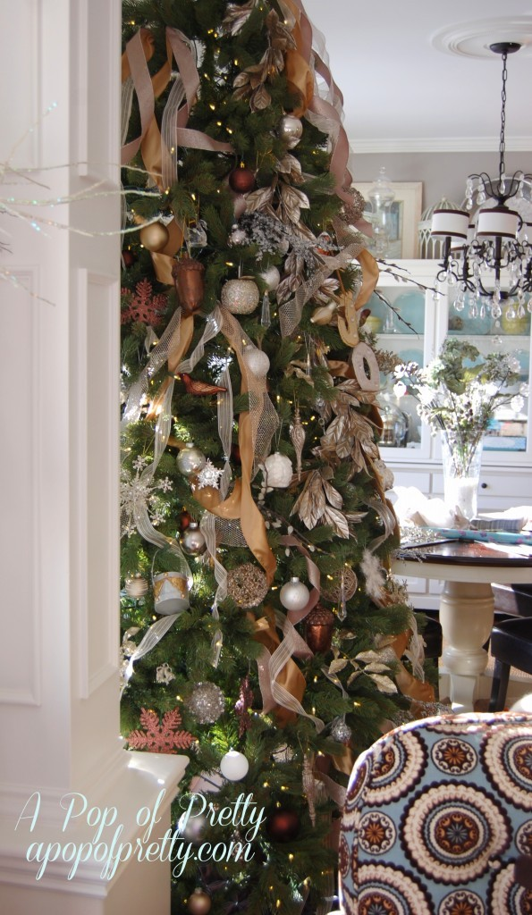 Christmas tree decorated in champagne