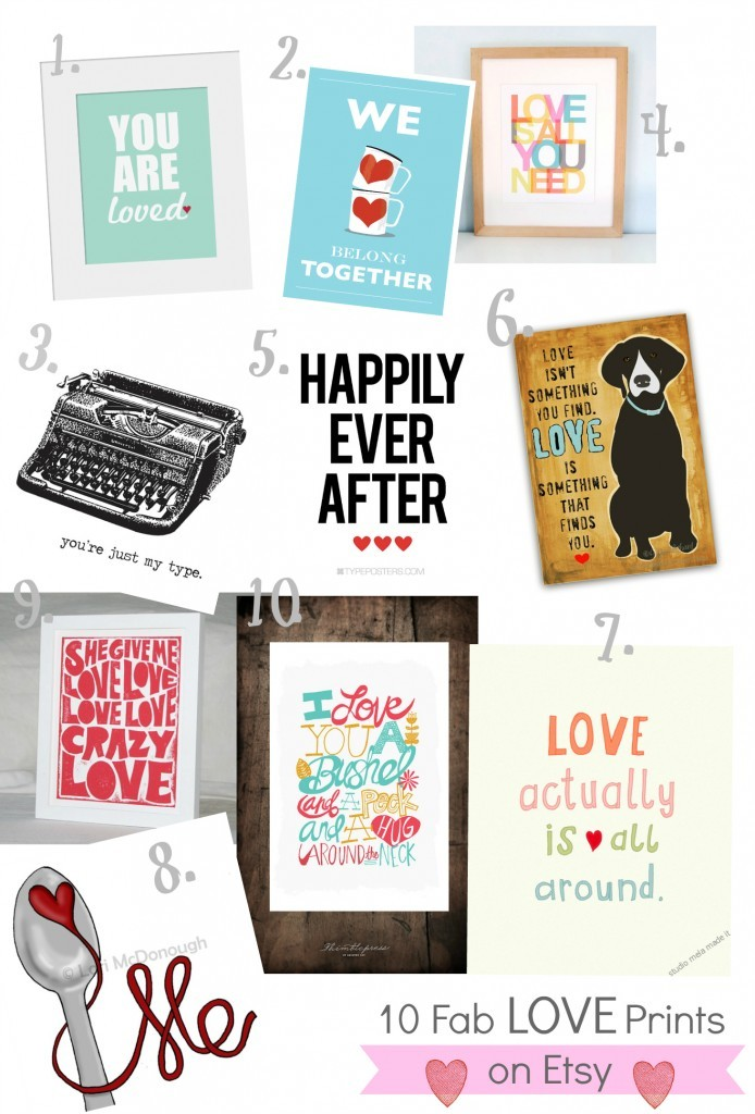10 Love Prints on Etsy