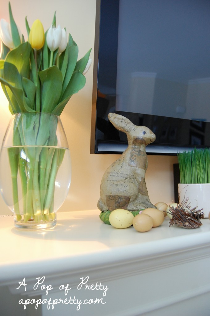 decorating with yellow tulips - easter