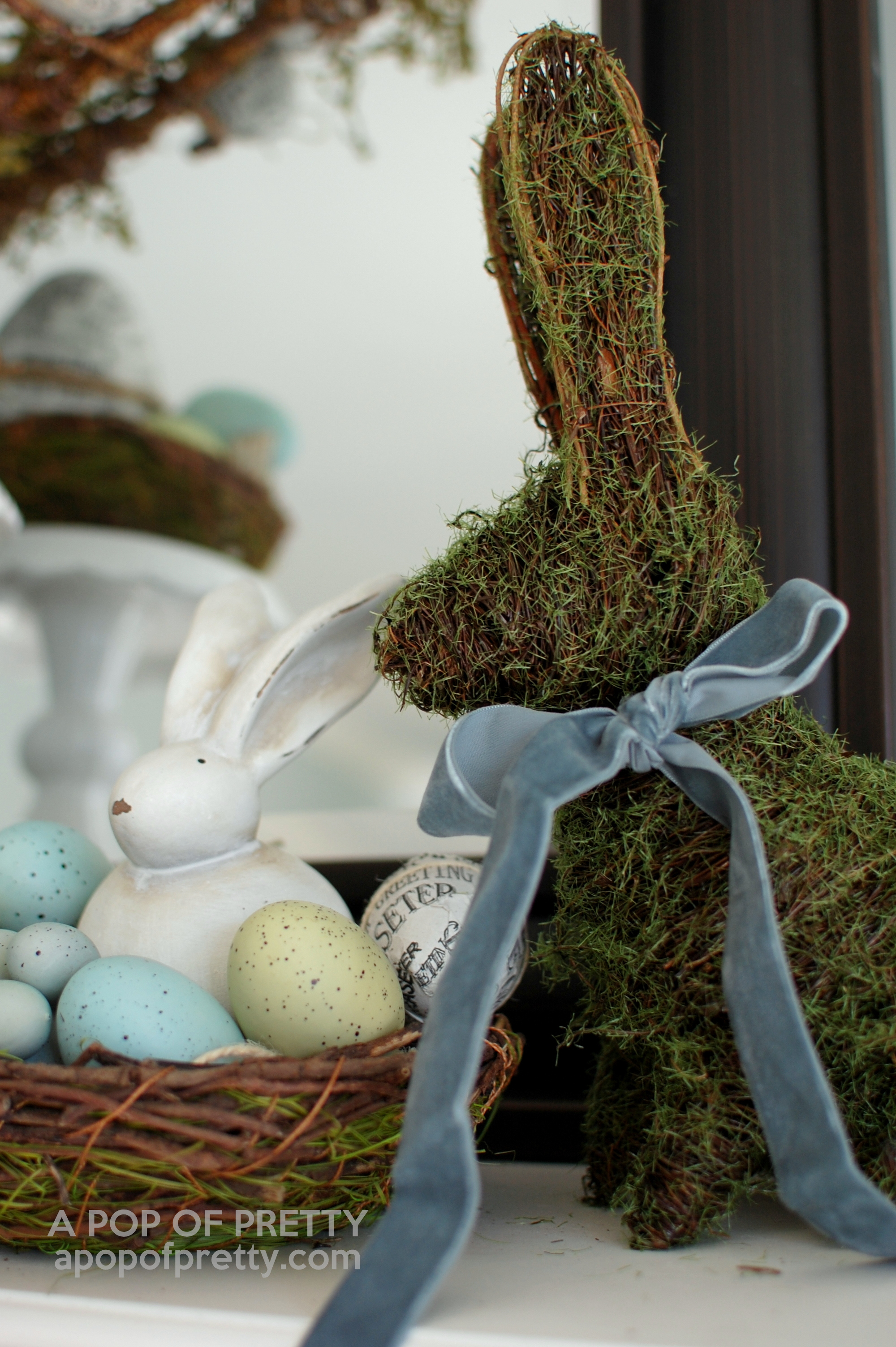 Easter Decorating Ideas: Mossy Bunny Easter Mantel