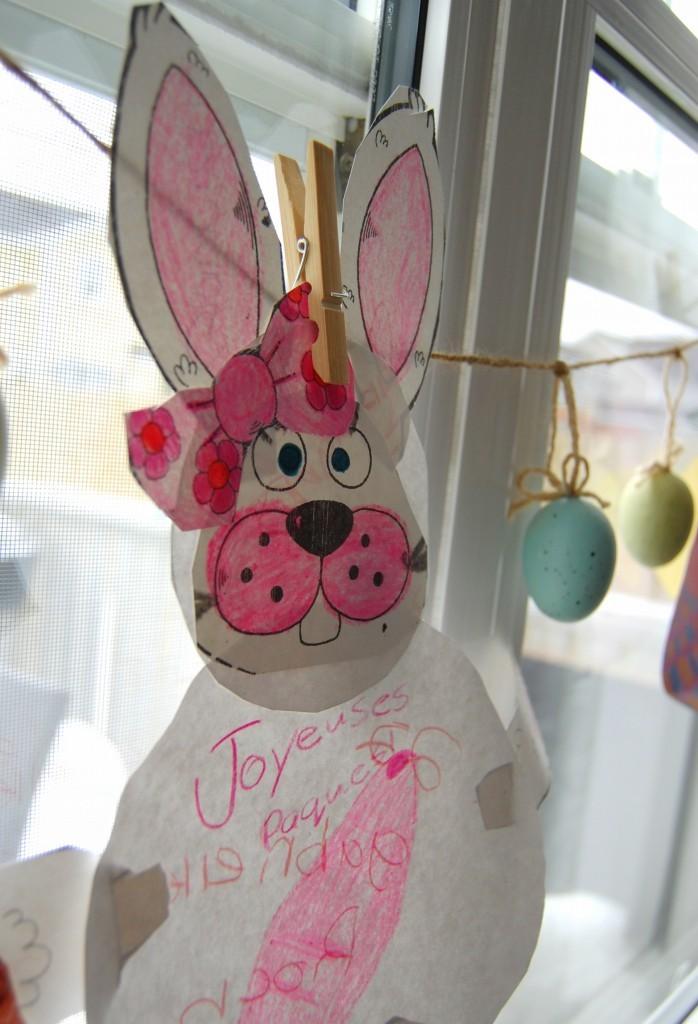 kids Easter art on an Easter banner