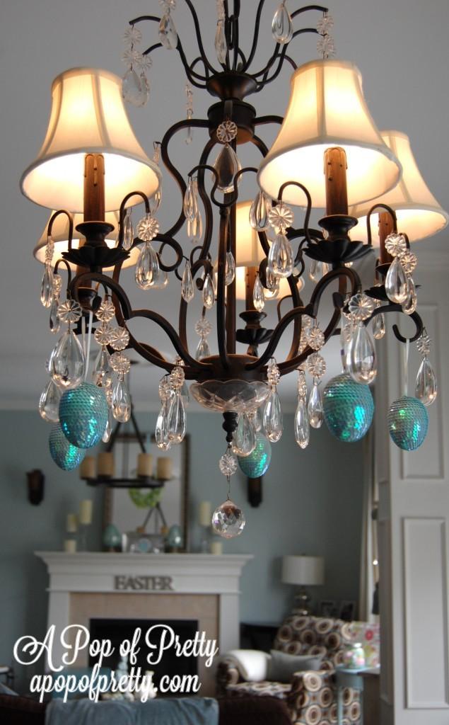 Easter eggs on chandelier