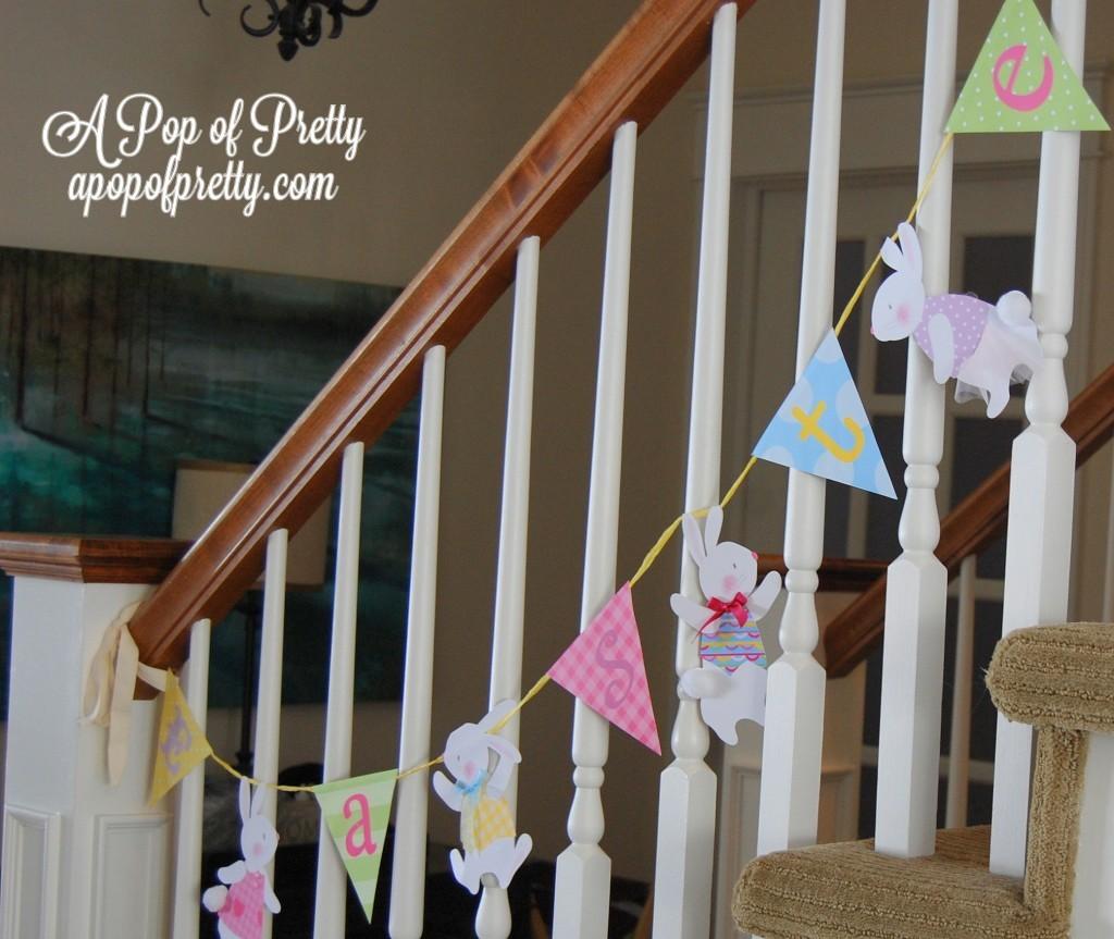paper bunny Easter banner