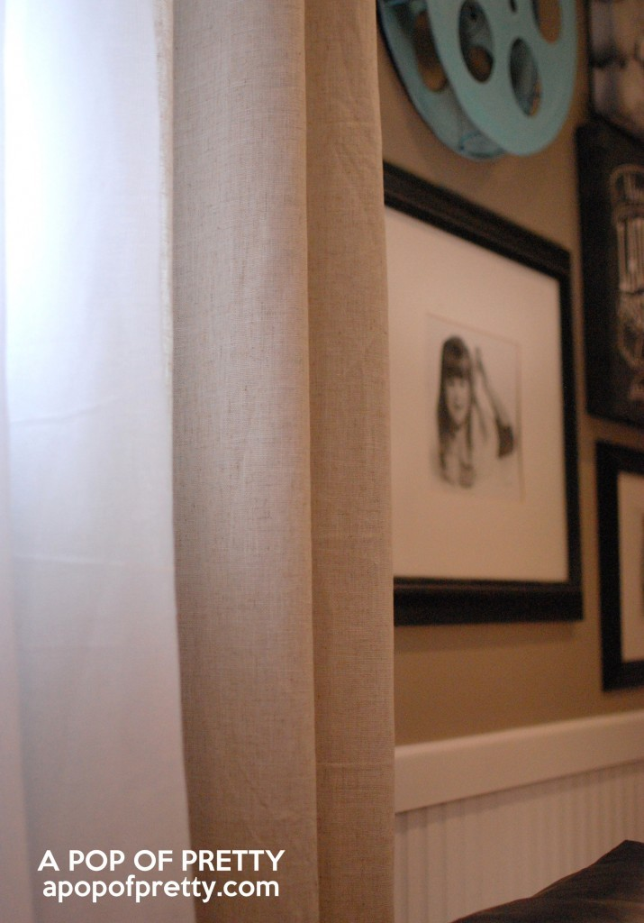 basement decor - linen drapery panels
