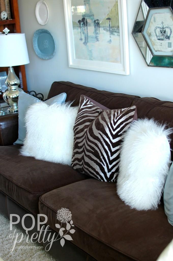 blue brown green living room