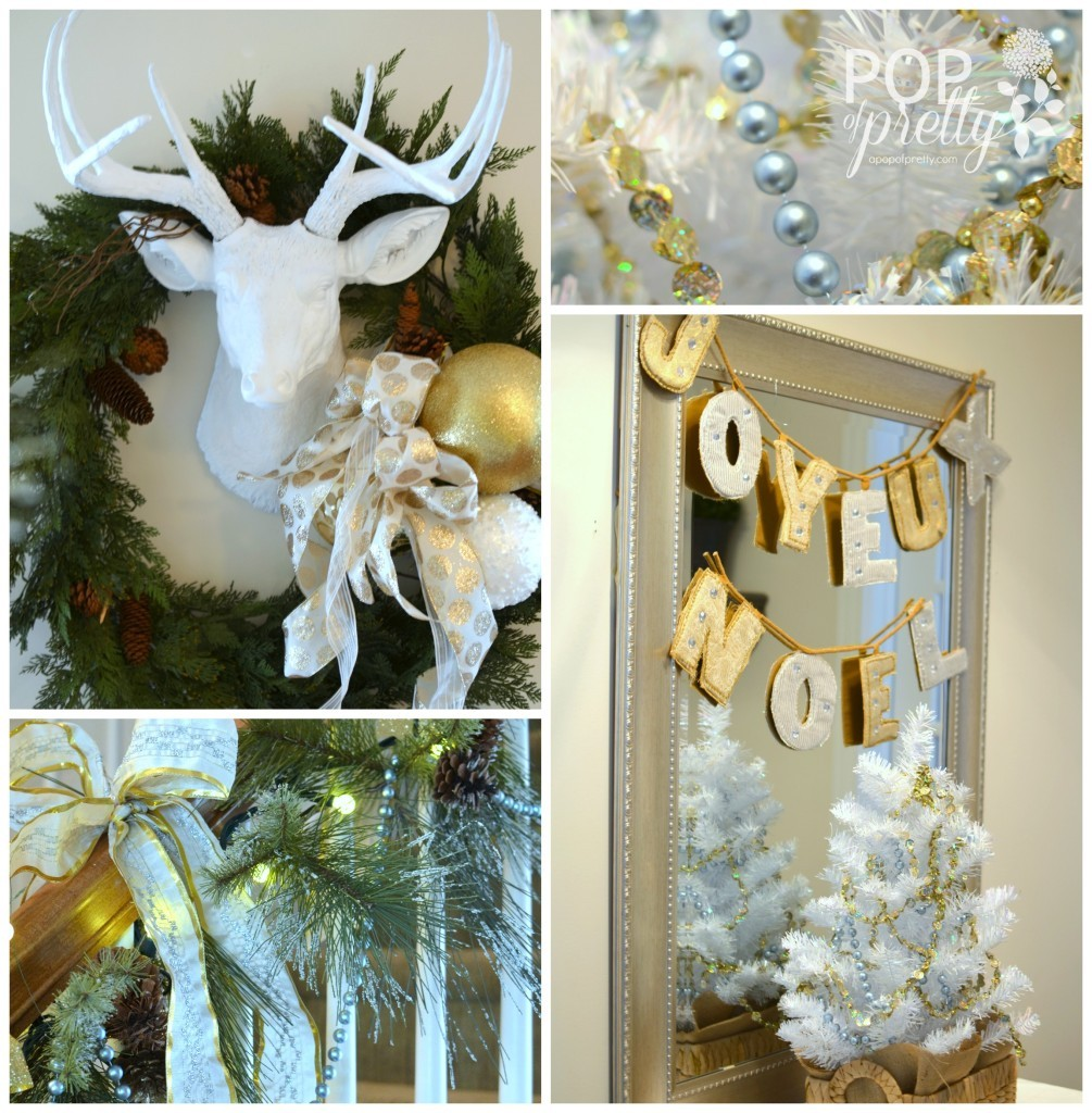 Gold and white Christmas decor foyer