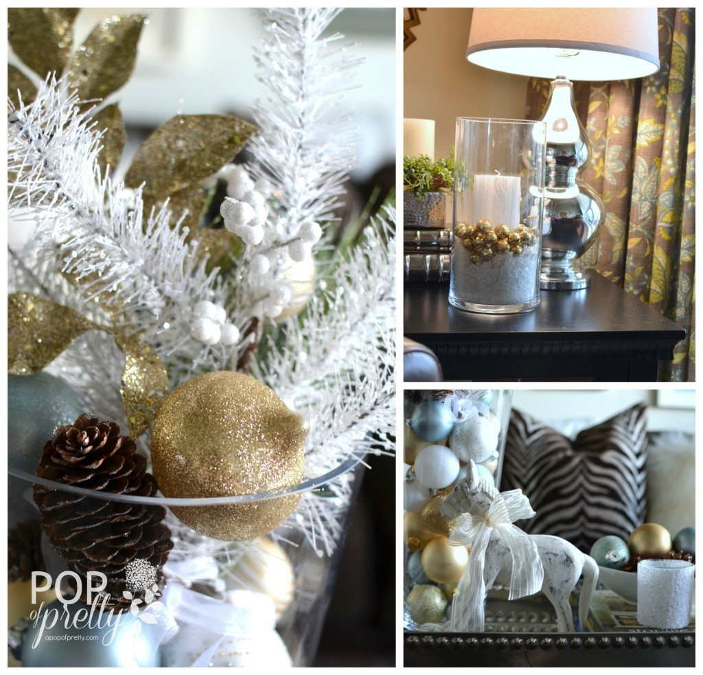 Gold and white Christmas decor - piano room 2