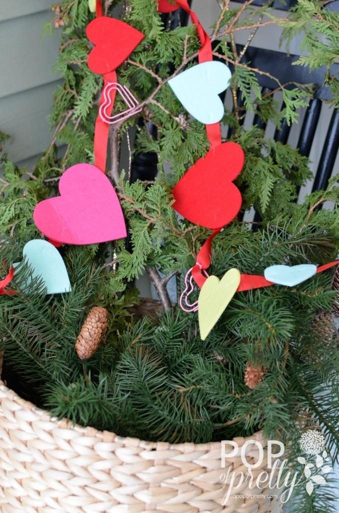 Valentines ideas felt heart garland