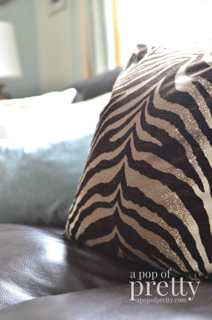 Canadian Bloggers Home Tour - a pop of pretty - zebra pillow