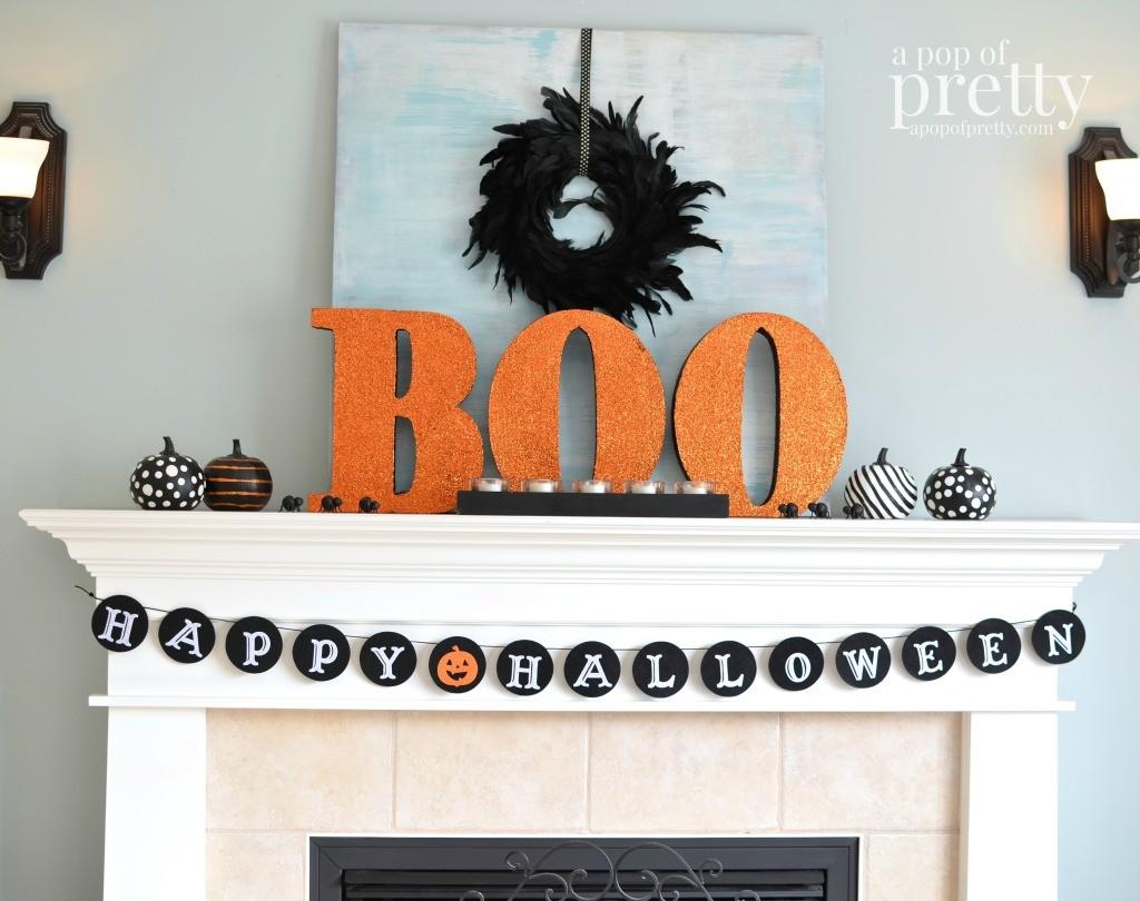 Kid friendly Halloween Decorating Ideas - Boo Mantel